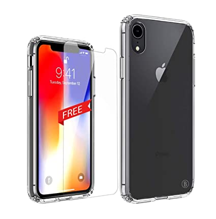 Le World Funda iPhone XR Transparente, TPU Silicona Suave + PC Dura Fundas Calcetín iPhone