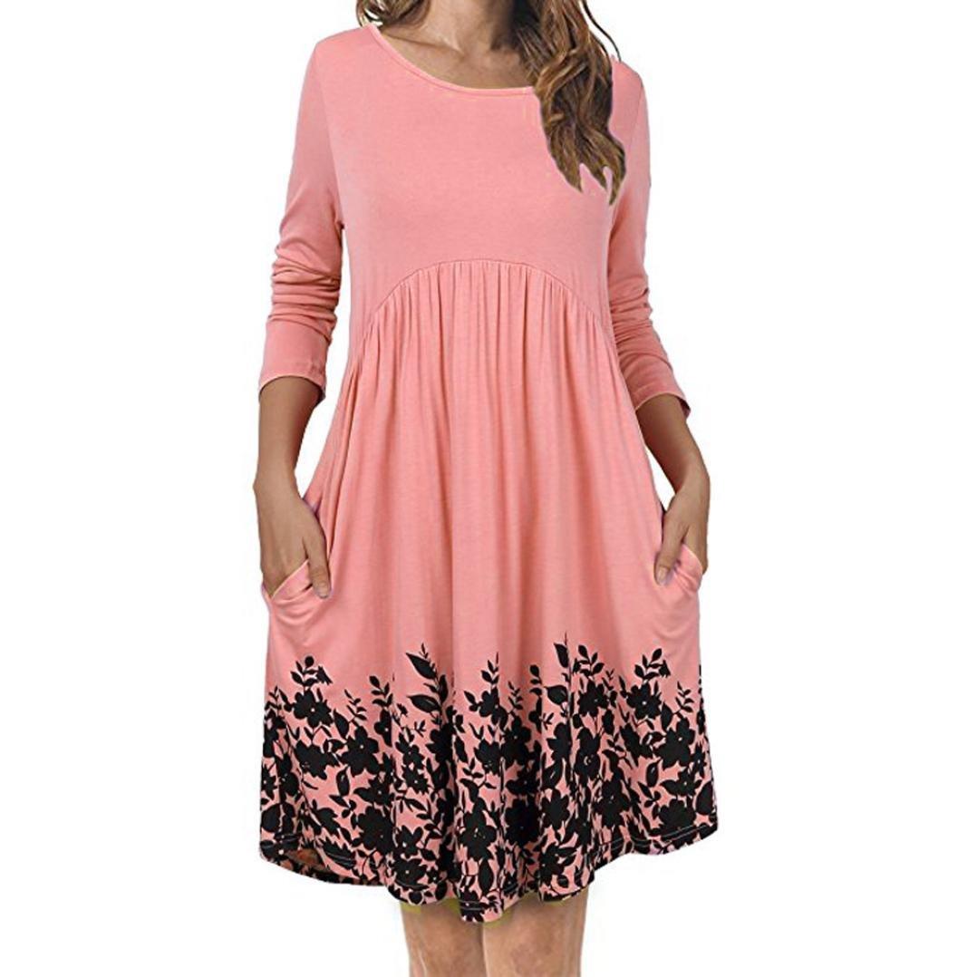 XILALU Women's T Shirt Dress with Pockets Long Sleeve Floral Pleated Swing Dress