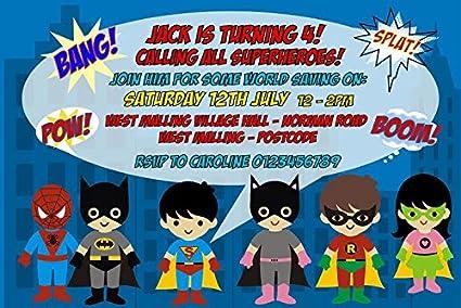 Personalizable superhéroe fiesta de cumpleaños invitaciones ...