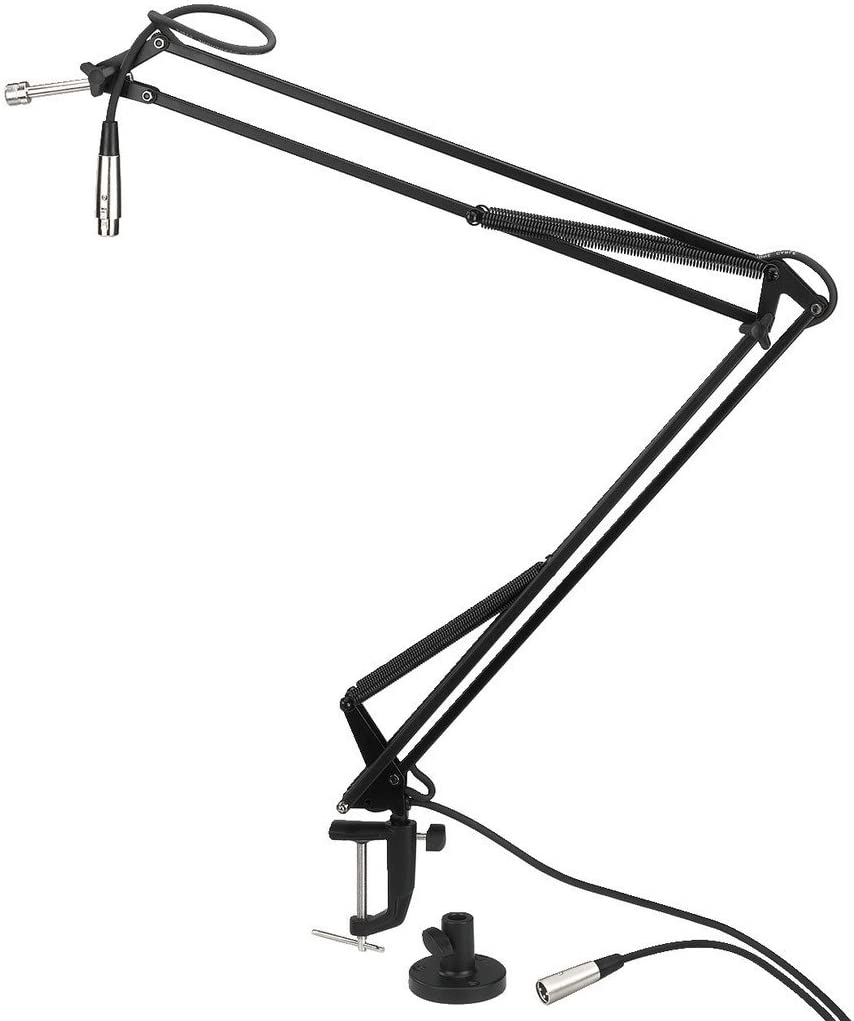 Black Monacor 23.5380 Lacquered Swivel Arm Microphone Stand