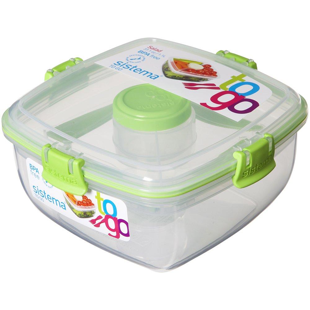 Sistema 25356 Salatbox To Go, 1,1 L und Besteck, grün grün SI25356G
