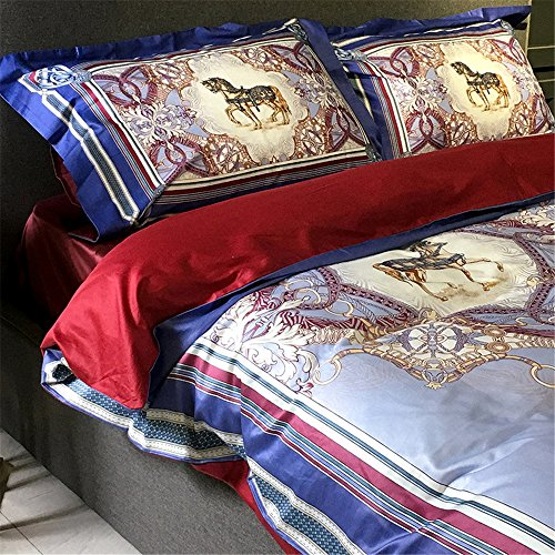2000T Pima Cotton Digital Printing Duvet Cover Set 4 pieces Floral Styleextra queen^^^light blue with dark blue by YOUXIMAKE (Image #1)