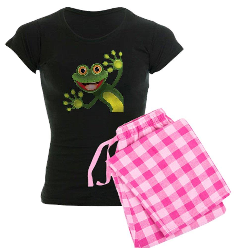 CafePress Happy Green Frog Pajamas Womens PJs