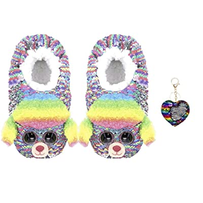 ReBL LLC Bundle of TY Reversible Flippable Sequin Slippers Beanie Boo Plush Footwear Rainbow Poodle with One Keychain - Small (11-13): Toys & Games