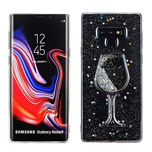 DECVO Glitter Bling Goblet Liquid Sand Pokal Case for Galaxy Note 9, Easy Installation Premium Material Soft TPU Clear Slim Protector Shockproof Sumsung Galaxy Note 9 Cover (2018) 6.4 Inch (Sliver)