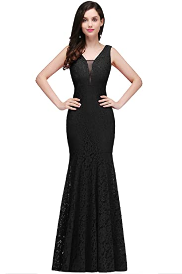 Misshow Womens Sleeveless Mermaid Dresses For Wedding Cocktail Party, Black, Size 6