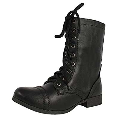 49d7bf8ce Amazon.com | SODA Women's Relax Faux Leather Military Combat Lace Up ...