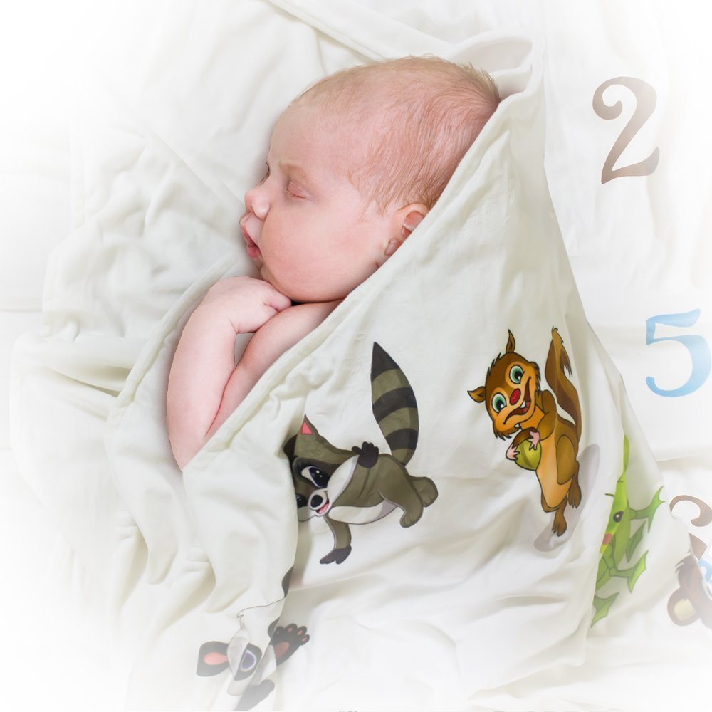 Spunky Sprouts Premium Double Layer Milestone Growth Blanket (WOOD ARROWS INCLUDED) Large Size. Weeks & Months-Great Gift For Newborns and Expecting Moms Photography for Boys or Girls by Spunky Sprouts (Image #4)