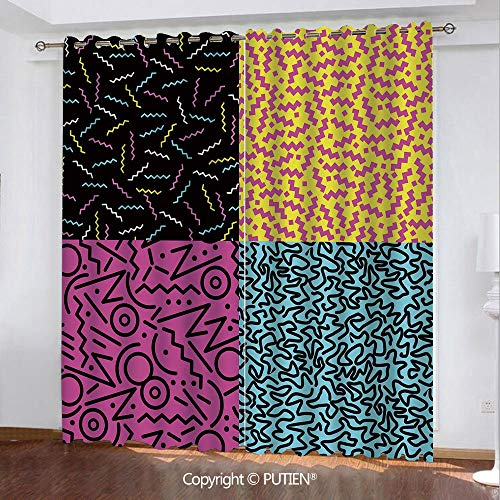 Satin Grommet Window Curtains Drapes [ Indie,Set of Vintage Eighties Fashion Style Patterns Colorful Funky Pop Unusual Doodles Decorative,Multicolor ] Window Curtain for Living Room Bedroom Dorm Room