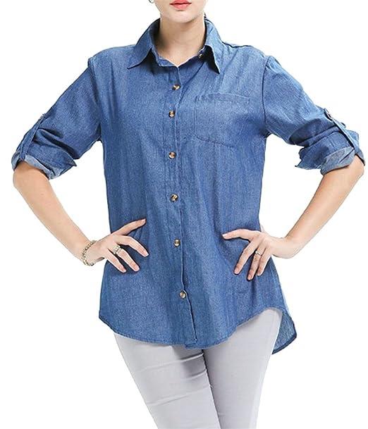 261d63bb9 Cromoncent Womens Long Sleeve Denim High Low Leisure Blouse Tops Button up  Shirts Dark Blue S