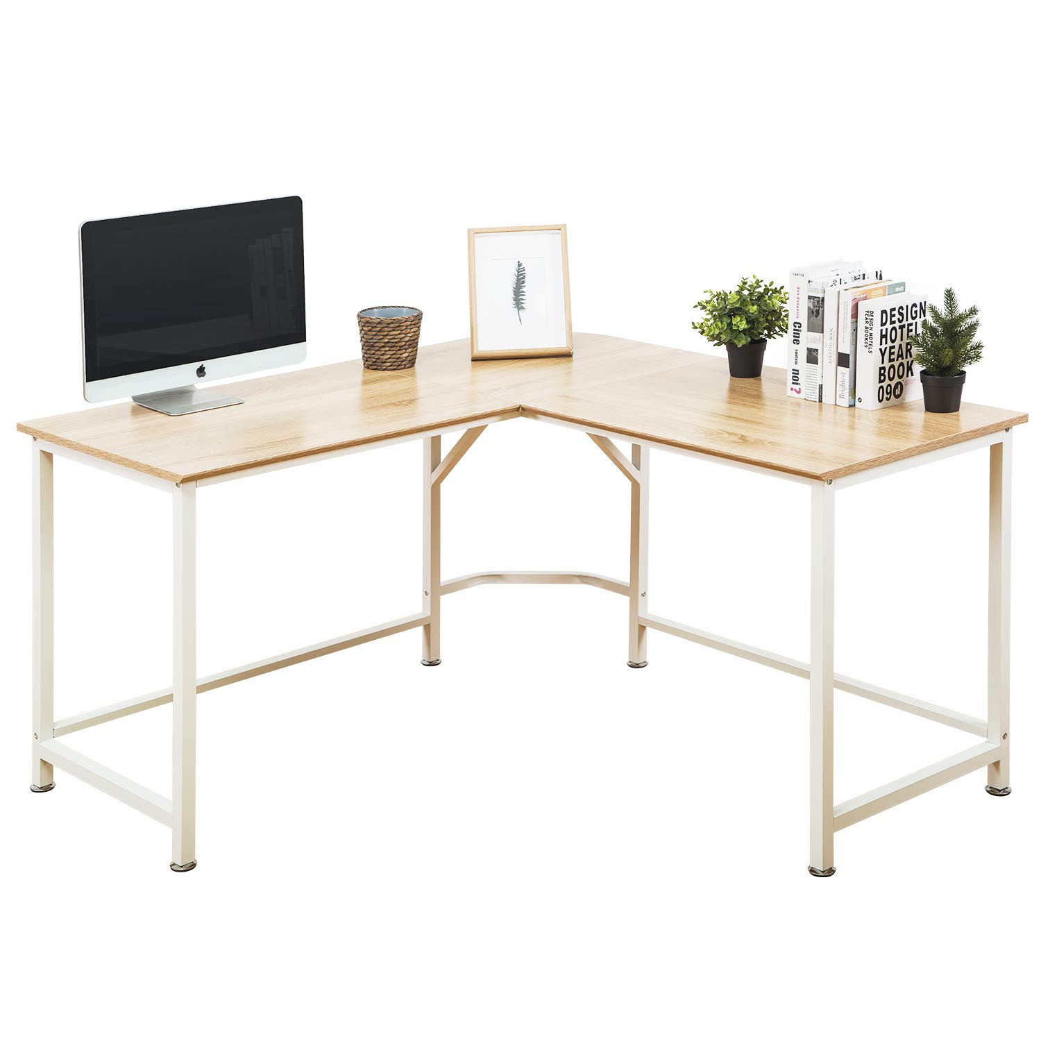 TOPSKY Computer Desk 55'' x 55'' with 24'' Deep L-Shaped Desk Corner Workstation Bevel Edge Design(Oak) by TOPSKY