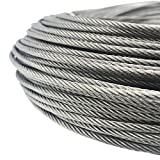 Senmit 1/8 Stainless Steel Aircraft Wire Rope for Deck Cable Railing Kit,7x7 200Feet T316 Marin Grade
