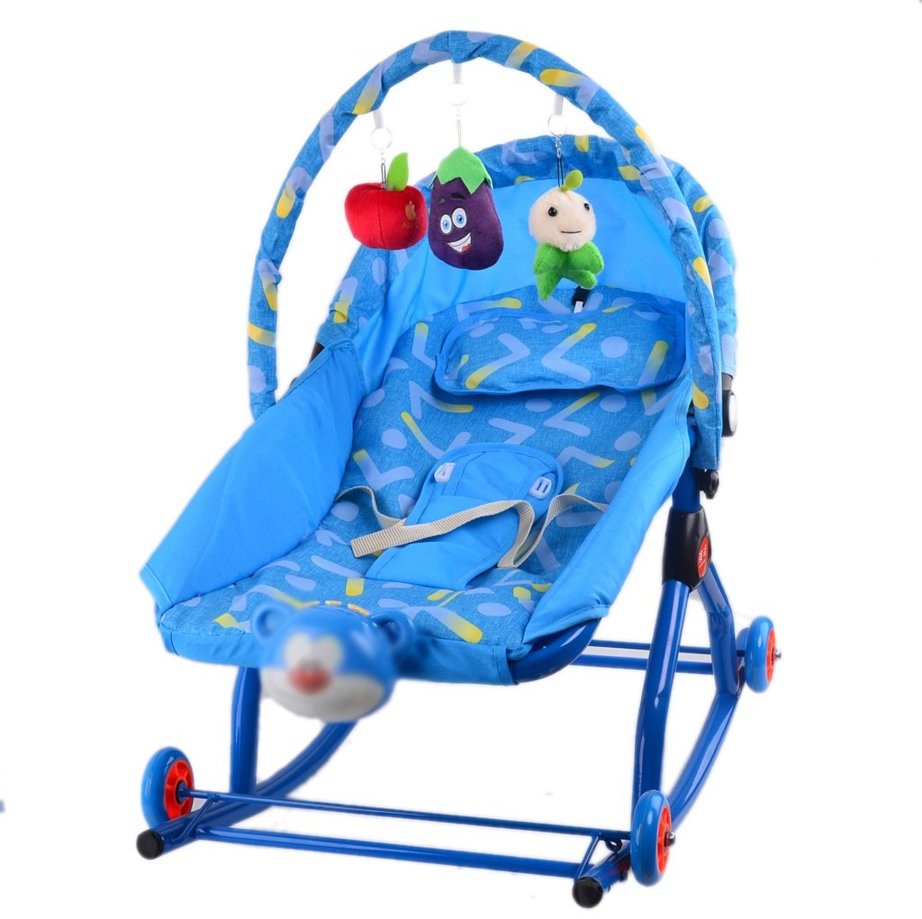 conveniente Guo Balance Bouncers Baby Rocking Chair Cómodo reclinable de de de música Cradle Bed Multifuncional con Ruedas (Color   Azul)  mas preferencial