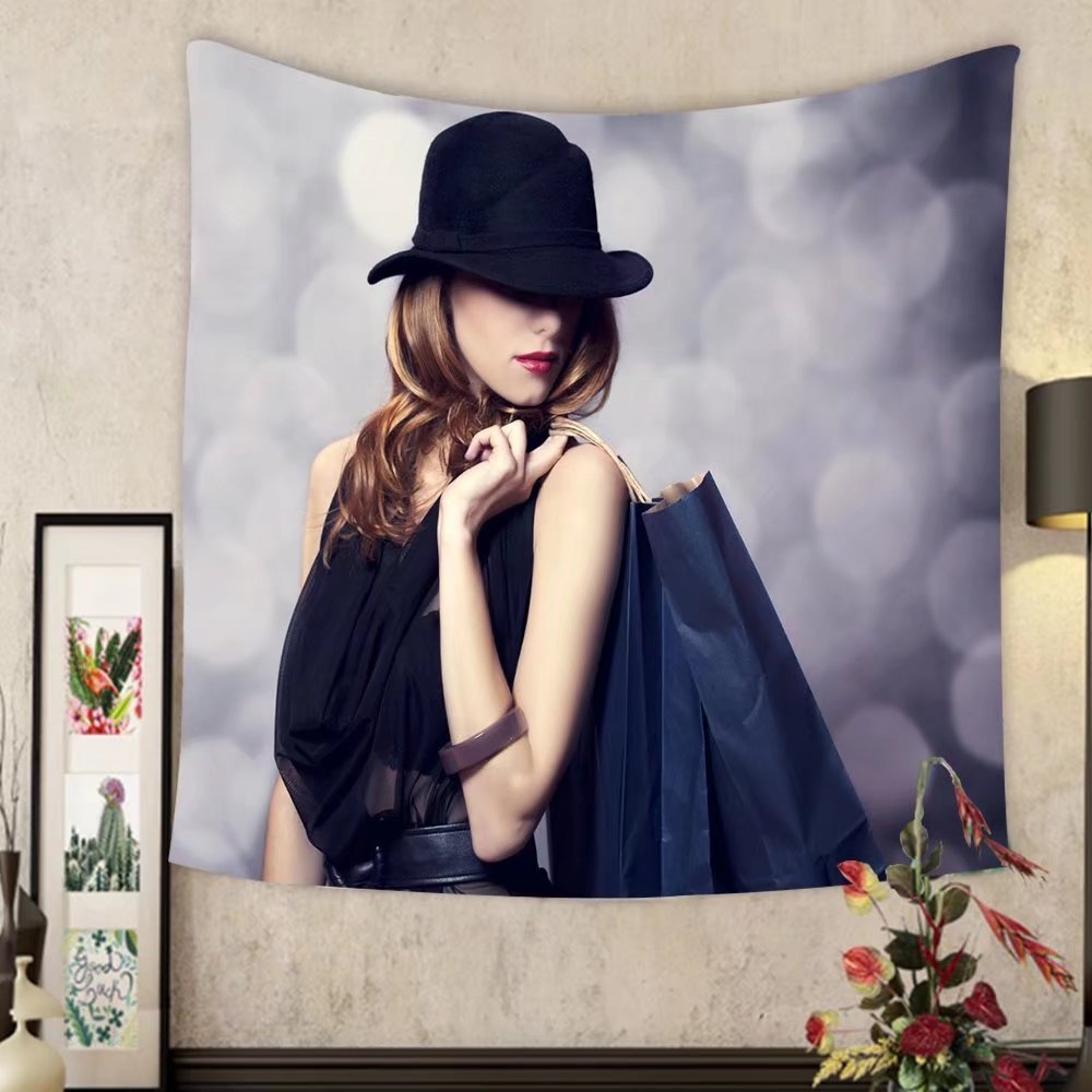 Carolyn J. Morin Custom tapestry style redhead girl with shopping bags