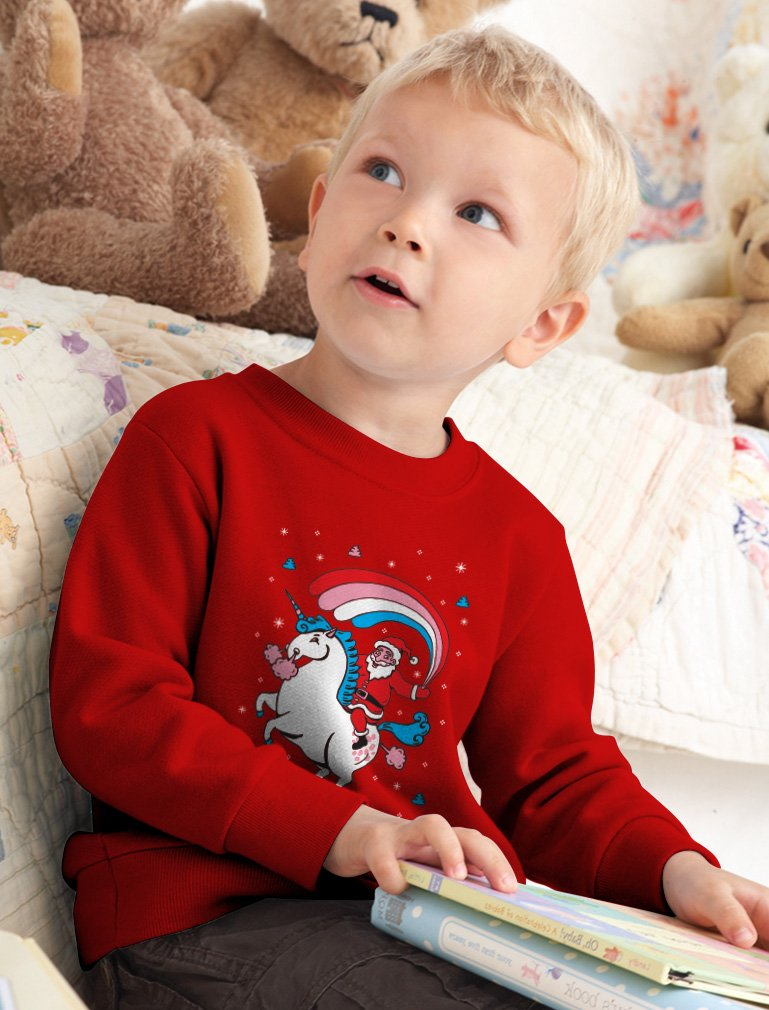 Santa Riding Unicorn Rainbow Ugly Christmas Toddler Kids Sweatshirt 5