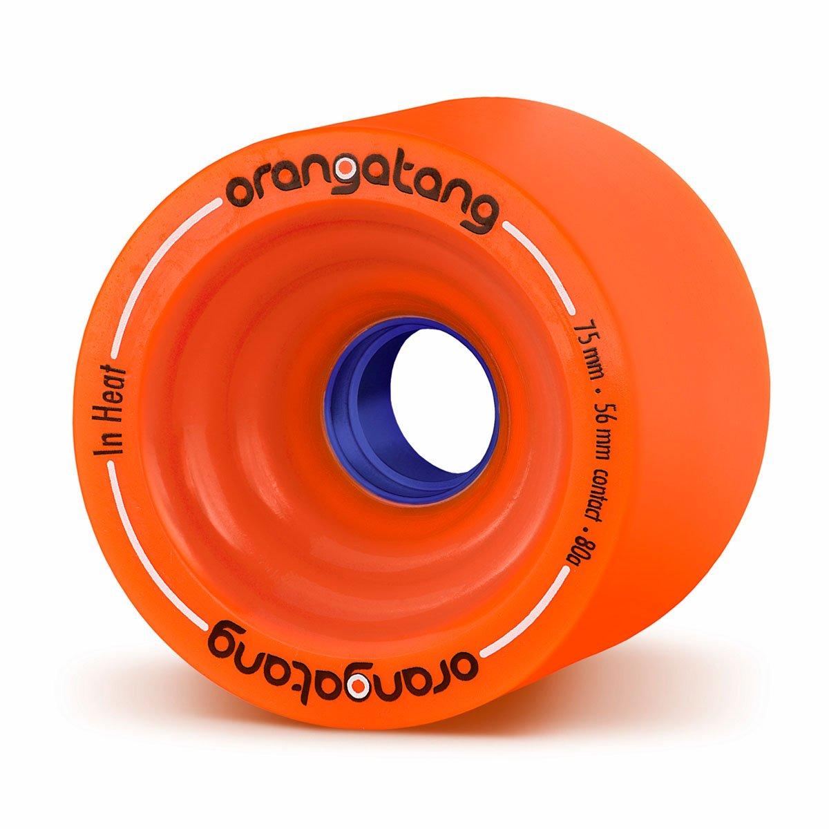 Orangatang in Heat 75 mm 80a Downhill Longboard Skateboard Cruising Wheels w/Loaded Jehu V2 Bearings (Orange, Set of 4) by Orangatang