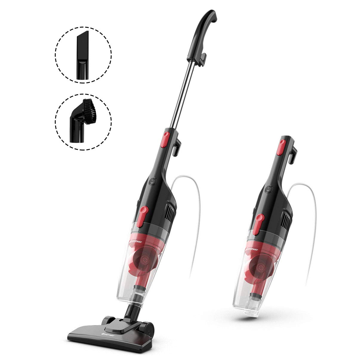 COSTWAY 6-in-1 Stick Vacuum Cleaner, 16KPa Powerful Suction 600W Lightweight Corded Upright Vacuum Cleaner with HEPA Filtration, Cord Rewind and Comfort Handle, for Home Hard Floor, Car, Pet Hair