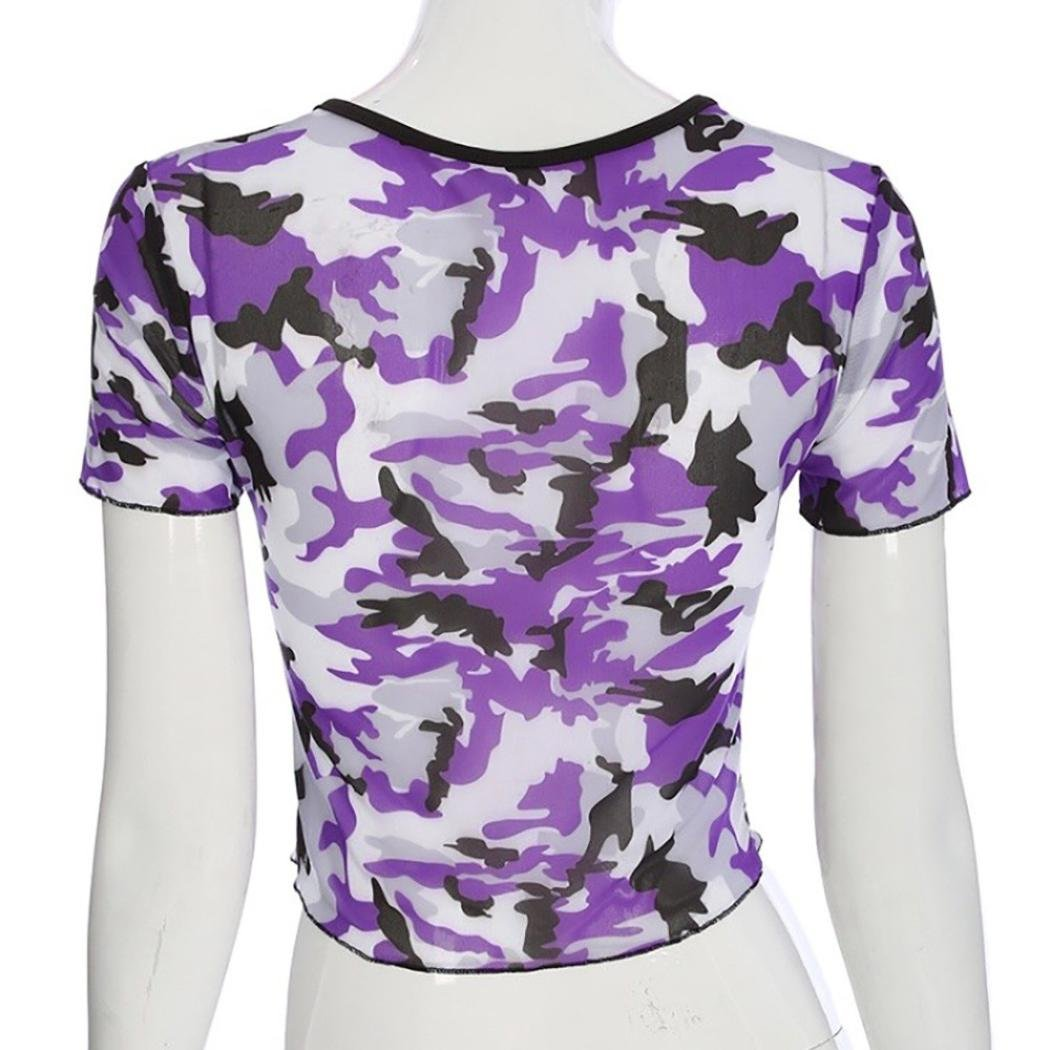 FENZL Women Camouflage Print Short Sleeve Crop Tops O-neck Pullover T-Shirt Blouse (XL, Purple) by FENZL (Image #4)