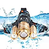 Wsky Brightest 6000 LM  LED Headlamp Flashlight - Zoomable Headlamp Waterproof - 3 CREE XM-L2 T6 Lampwick - Best for Camping Biking Hunting Fishing Outdoor