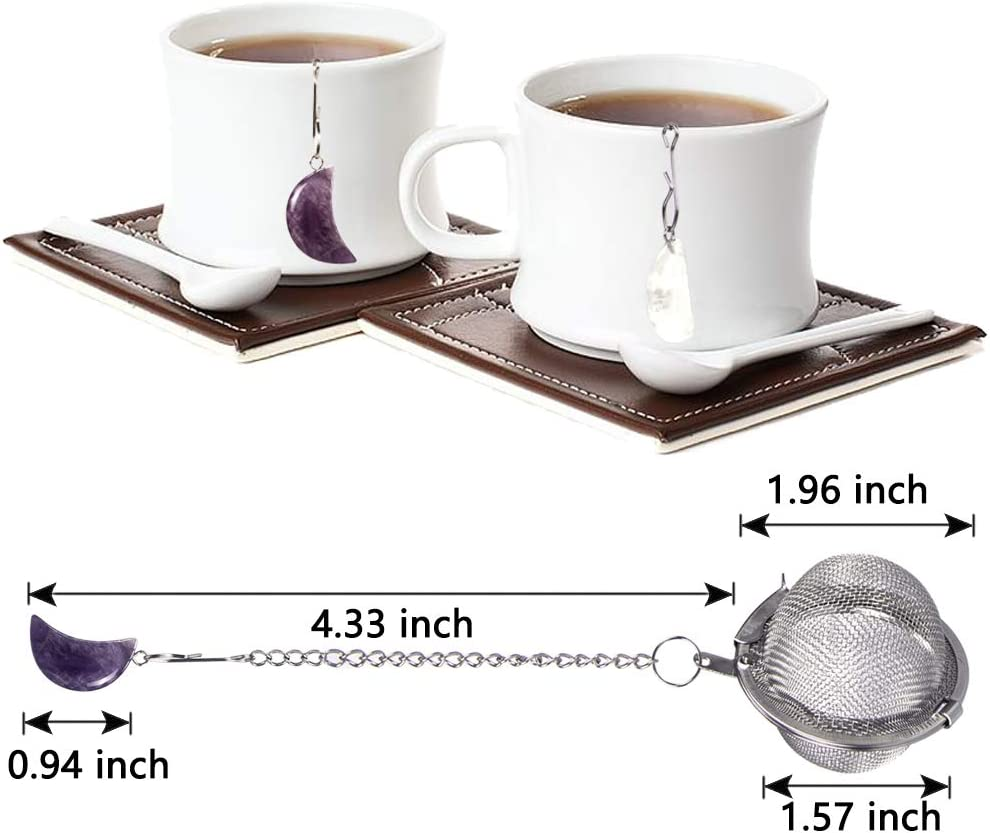 2pcs Tea Infuser, Scdom Stainless Steel Ball Mesh Tea Strainer, Amethyst & White Crystal Moon Pendant Tea Ball Tea Filter with Extended Chain Hook for Brew Fine Loose Tea and Spices & Seasonings
