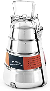 King International Tiffin Lunch Box | Steel Lunch Box | Food Grade Bento Vintage Pyramid Tiffin Box | (4 tier) Pyramid Tiffin | Indian Metal Tiffin | Steel Pyramid Tiffin | Made in India