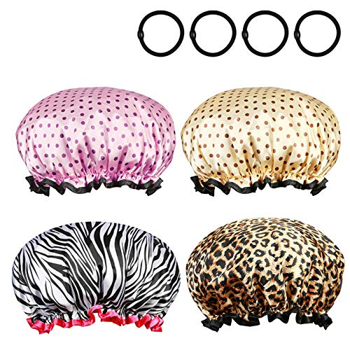 Shower Cap,Metable 4pcs Double Layer Elastic Band Shower Hat Waterproof Bath Caps with Black Hair Bands for Women Girls Long Hair Salon Spa Bathing Accessories
