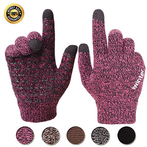 Achiou Winter Touchscreen Gloves Warm for Women Men Knit Wool Lined Texting (Rose Red)