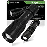 EcoGear FX Camping LED Flashlight Kit (TK130): For Camping, Security, Tactical, & General Use - Offers a Zoom Function and 5 Light Modes - Includes Rechargeable Batteries, Charger & Mini Flashlight