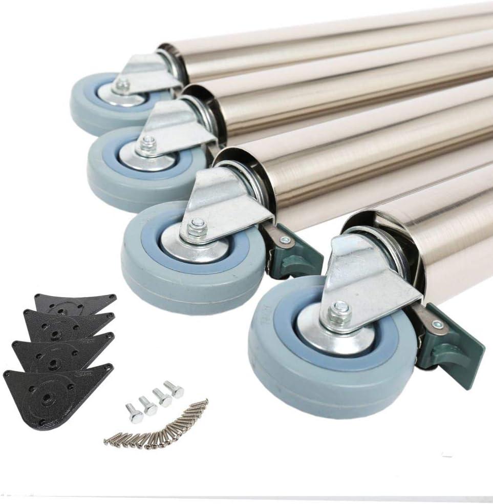 4er Set Tischbeine Tischf/ü/ße M/öbelbeine 870mm /ø 60mm auf Rollen mit Bremsen verschiedene Farben Edelstahl Optik