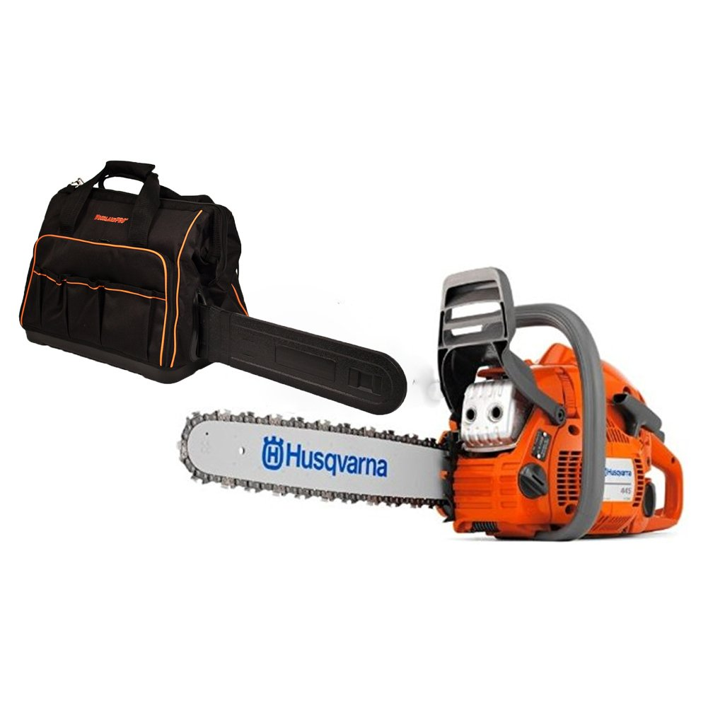 Rotary Husqvarna 445 Chainsaw 46cc Kit with 18 Bar Chain Plus 1 WoodlandPRO Chainsaw Bag