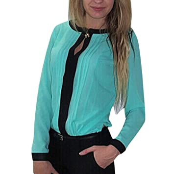 f21d48c38d6a57 Eleery Fashion Women Loose Boat Neck Long Sleeve Chiffon Solid Pleated  Shirt Blouse Ladies Casual Tops