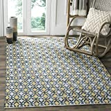 Safavieh Montauk Collection MTK123B Handmade Flatweave Gold and Multi Cotton Square Area Rug (4′ Square) For Sale