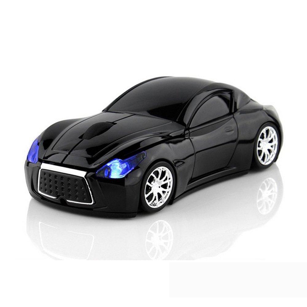 Ratón inalámbrico de ratón óptico para ordenador de coche deportivo con luz LED negro: Amazon.es: Informática