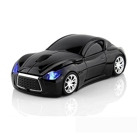 Ratón inalámbrico de ratón óptico para ordenador de coche deportivo con luz LED negro