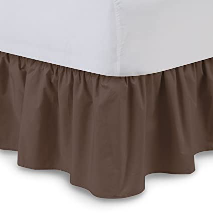 Ruffled Bedskirt Queen Brown 18 Inch Bed Skirt With Platform Wrinkle And Fade Resistant By Harmony Lane Available In All Bed Sizes And 16