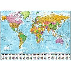Close Up Póster XXL Mapa del Mundo con Banderas – Versión 2020 [En Inglés] (140cm x 100cm) + 1 Paquete de tesa Powerstrips® (20 Tiras)