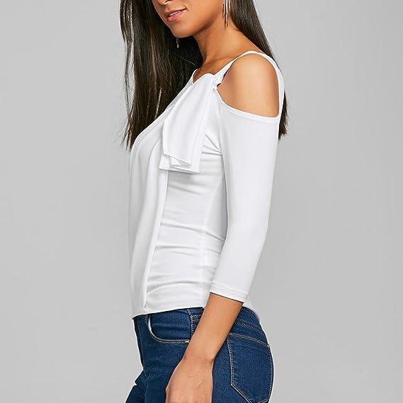 Tops Mujer Hombro Irregular Fuera Camiseta de Manga Siete Cuartos Blusa ❤ Manadlian: Amazon.es: Ropa y accesorios
