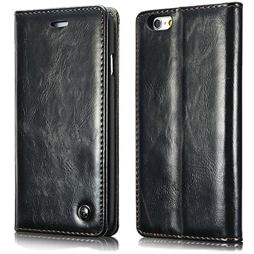 iPhone 6 Leather Flip Case in Black, Luxury Leather Flip case for iPhone 6 with Magnetic Latch and Credit Card/ID Carrying Slot -