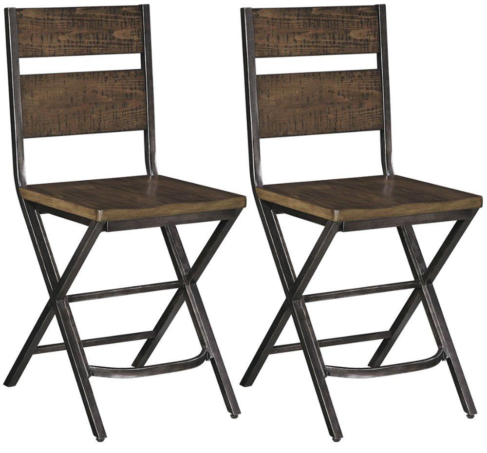 Ashley Furniture Signature Design - Kavara Barstool - Set of 2 - Casual Style - Two-tone Brown/Gray