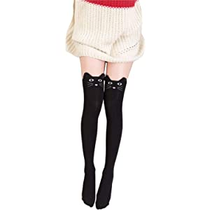 fdb231e9ad3 Wander G Women Cute Over Knee Socks Cotton Cartoon Animal Cat Bear Socks  Thigh High Stockings