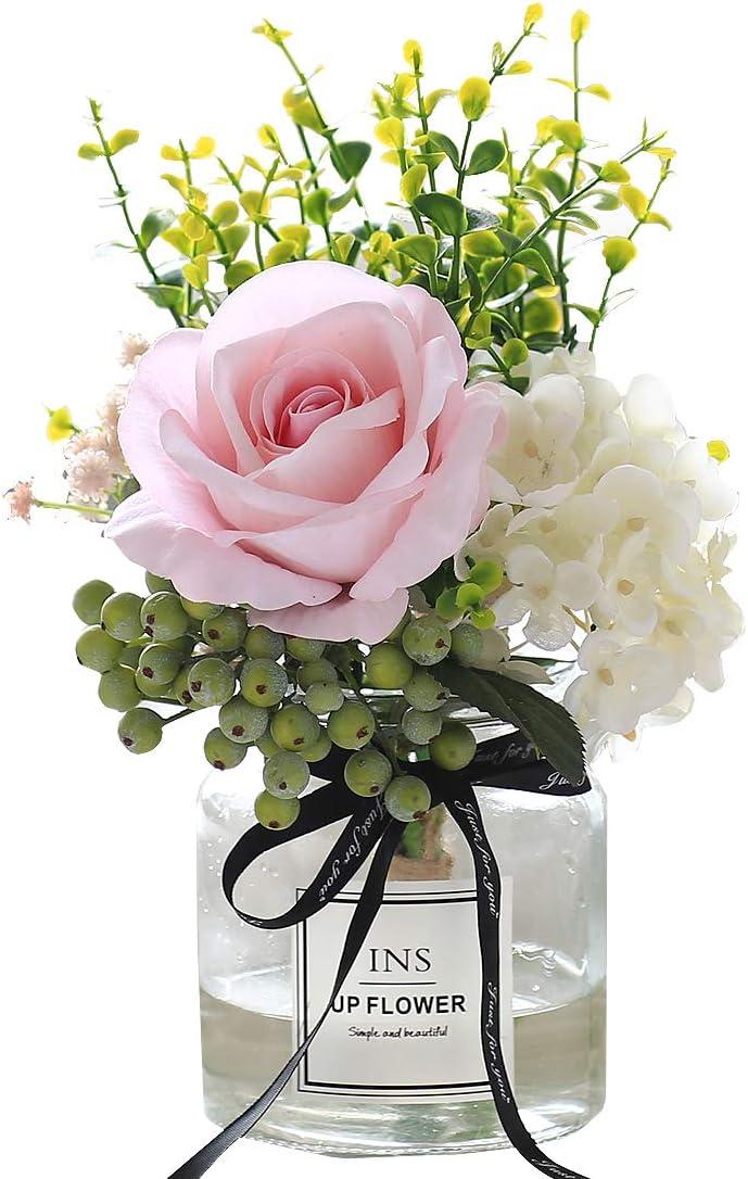 Artificial Flowers in vase,Artificial Plants & Flowers Faux White Rose Bouquet Flower Arrangements, for Office Home Deco for Decor Indoor (Pink)