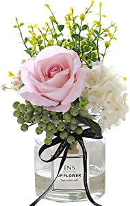 Artificial Flowers in vase,Artificial Plants & Flowers Faux White Rose Bouquet Flower Arrangements, for Office Home Deco for Decor Indoor (Pink)