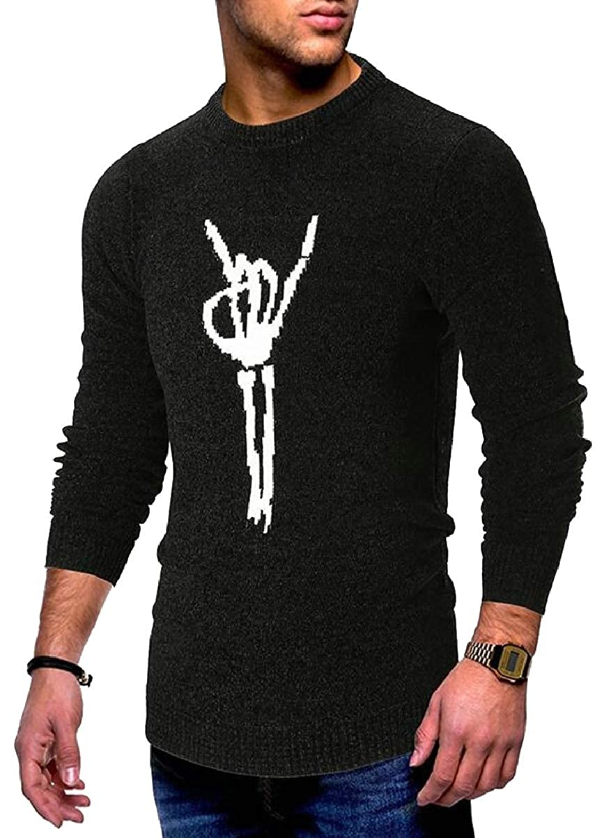 ZXFHZS Mens Casual Slim Pattern Round Neck Knitted Pullover Sweater Tops