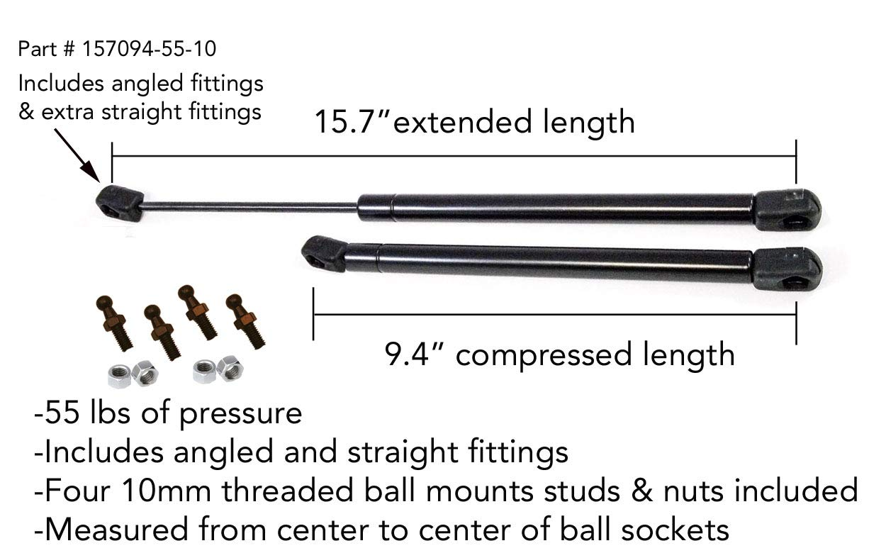 ATC 2 Truck Upfitters 16 Gas Props for ARE MEASUREMENT REQD Incl 4 ball mounts+angled /& straight fittings! Leer Camper Shell Snugtop 15.7 extended, 9.4 compressed, 55 pounds of pressure ea