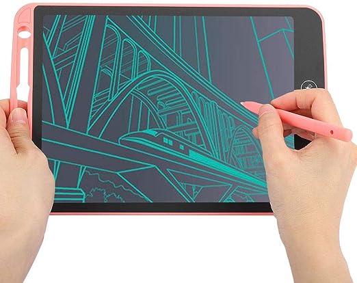 LCD手書きボードマットスクリーン10in子供用スマートライティングパッド(Pink)