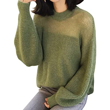 10c62ad840 Women See Through Lantern Sleeve Knit Sweater Loose Casual Pullover  Stretchable Elasticity Shirt Tops Green