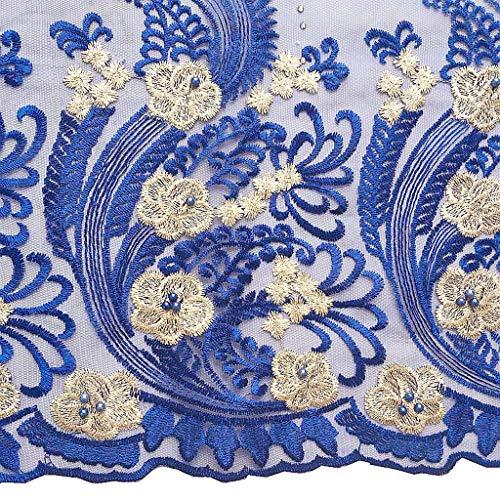 Materils rosa Di Di Worthsjlh Pizzo Reale Blu Fucsia Un Con Sacco Lf304 Tessuto Africano Perline WpqqSaI