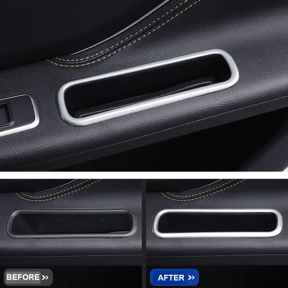 Kadore Interior Rear Door Storage Box Cover Trim for Jaguar F-PACE 2016-2019 ABS Matte 2-pc