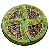 Handmade Turkish Traditional Ceramic 5 Piece Divided Serving Platter Set (Green)