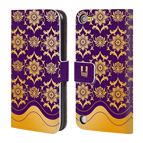 Head Case Designs Porpora Barocco Moderno Cover a portafoglio in pelle per iPod Touch 5th Gen / 6th Gen